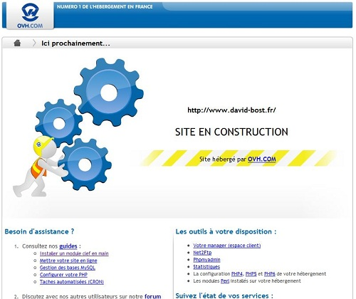 capture page web en construction OVH