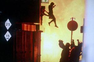 woman jumps par Amy Weston - riots in London