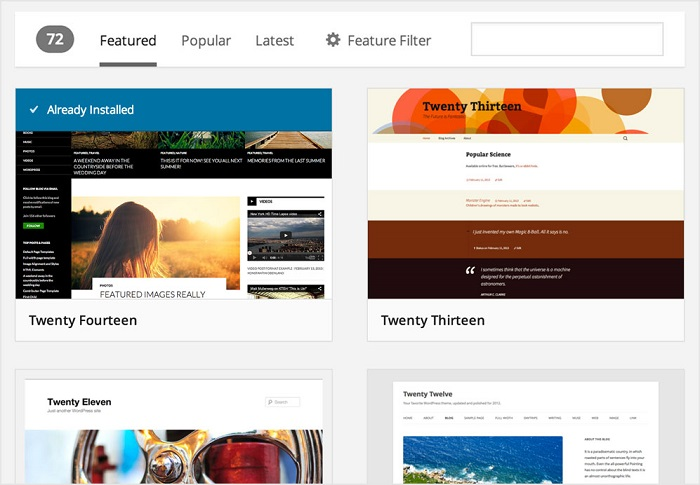 interface bibliothèque thèmes WordPress