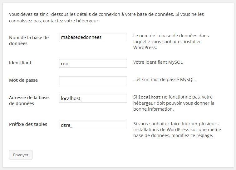formulaire 1 installation wordpress