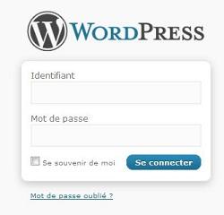 page de connexion administration WordPress