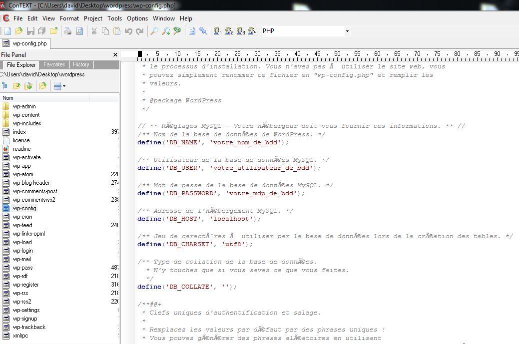 wp-config dans ConText