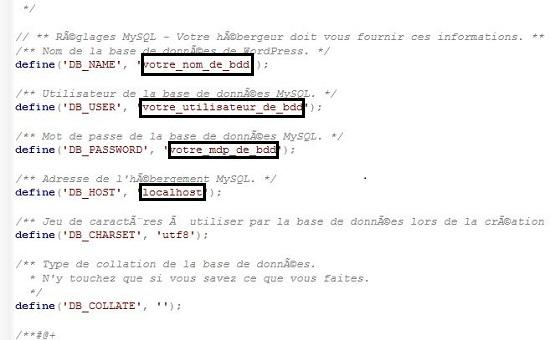 capture des éléments à modifier dans le fichier wp-config