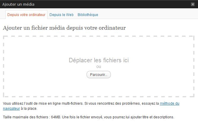 le champ cliquer deposer wordpress 3.3