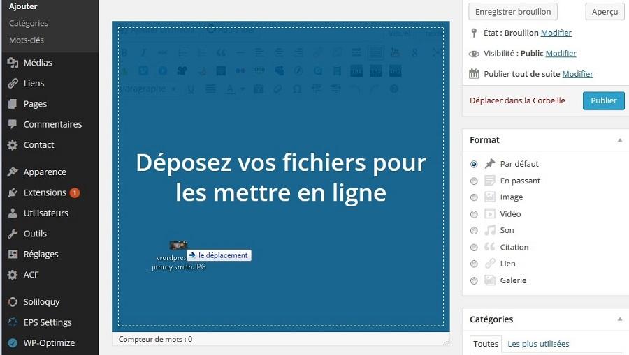 cliquer déposer image éditeur de texte WordPress
