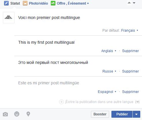 publication multilingue Facebook