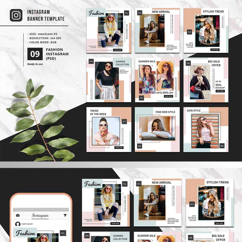 Paquet promotionnel pour page de mode sur Instagram